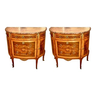 Pair of Louis XVI Style Marble Top Marquetry Inlaid Commodes For Sale