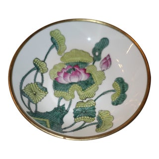 Vintage Hollywood Regency Porcelain Brass Purple Orchid Bowl Dish For Sale