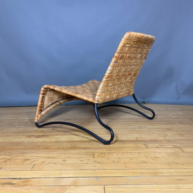 Late 20th Century Continental Woven Cane and Blackened Steel Lounge Chair For Sale - Image 5 of 12