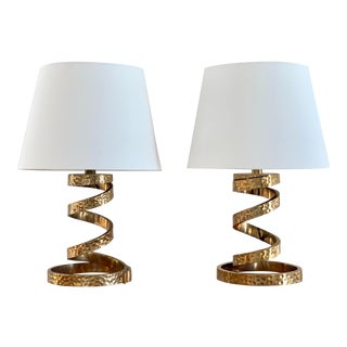 1970s Italian Brass Lamps by Luciano Frigerio - a Pair For Sale