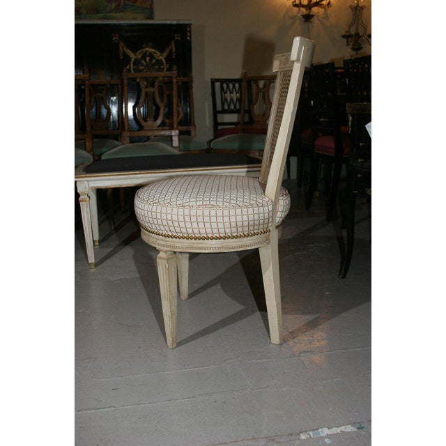 1940s Set of Four White Painted Cane Back Chairs Stamped Jansen For Sale - Image 5 of 10