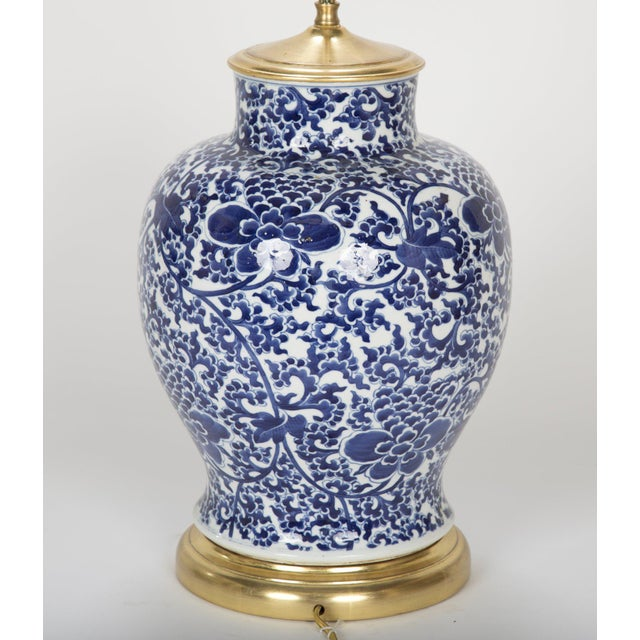 19th Century Chinese Blue & White Porcelain Vase now a Lamp For Sale - Image 9 of 11