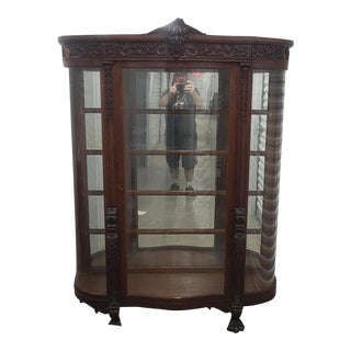 Antique Victorian Carved Oak North Wind Curved Glass Curio Crystal Display Cabinet C1900 For Sale