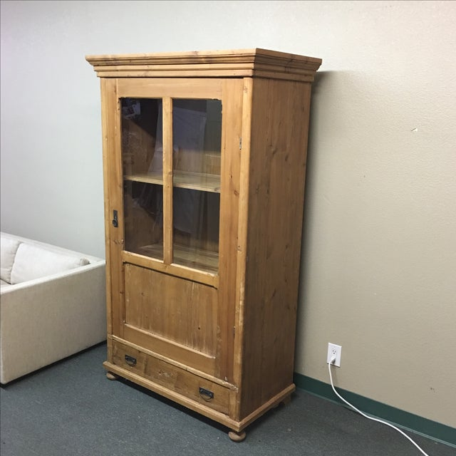 Antique Rustic Wood Armoire With Glass Doors - Image 4 of 11