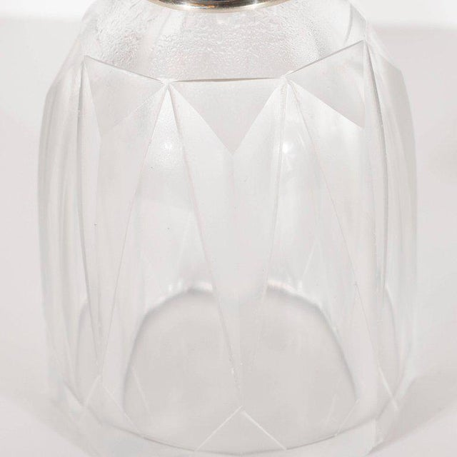 Art Deco Skyscraper Style Sterling Silver & Geometric Beveled Glass Perfume Set For Sale In New York - Image 6 of 9