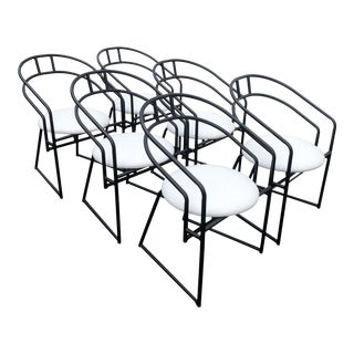 Postmodern Black Metal Frame Chairs With White Faux Ostrich Leather Seats - Set of 6 For Sale