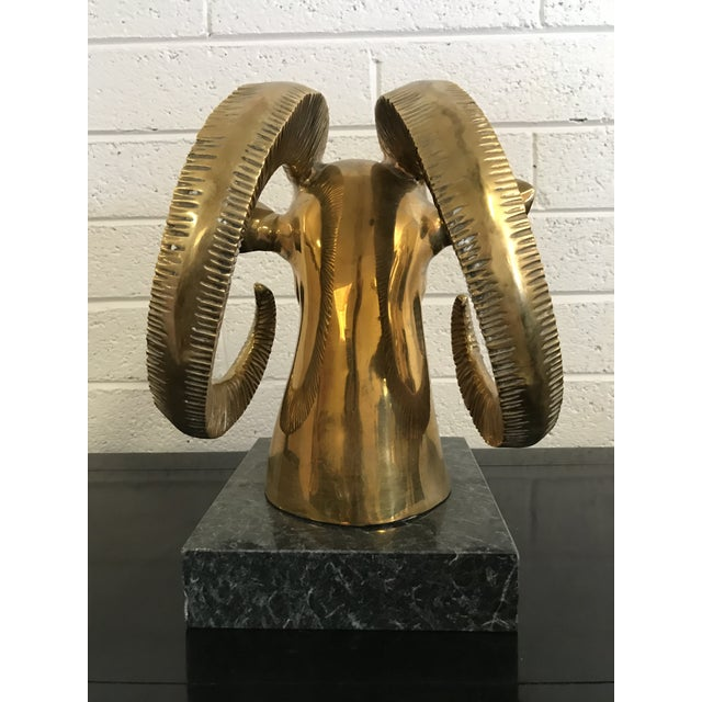 Sarreid Ltd. 1980s Contemporary Brass Ram's Head on Marble Base For Sale - Image 4 of 6