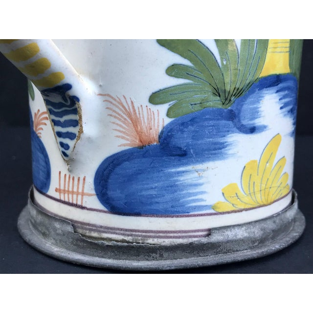 18th Century German Faience Polychrome Pewter-Mounted Tankard in Columnar Form For Sale - Image 10 of 11