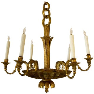 Antique Continental Carved Giltwood Neoclassic Six-Light Chandelier For Sale