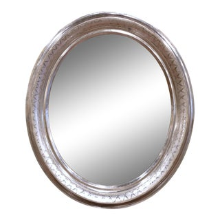 19th Century French Louis Philippe Oval Silver Leaf Mirror With Geometric Motifs For Sale