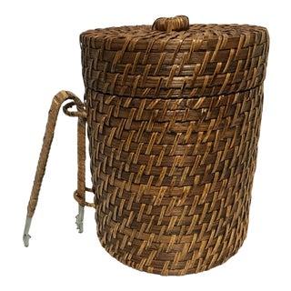 Vintage Mini Wicker Ice Bucket With Tongs