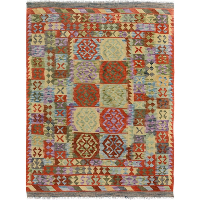 Arya Stan Blue/Gray Wool Kilim Rug - 4'10 X 6'7 A9264 For Sale