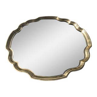 Hollywood Regency Scalloped Edge Brass Mirror For Sale