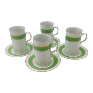 Fitz and Floyd Espresso Demitasse Cups and Saucers - Set of 4 For Sale