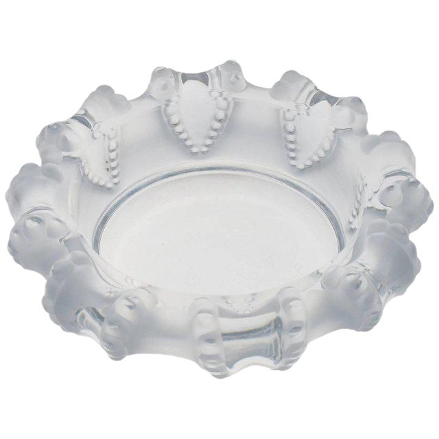 Lalique France Large Crystal Ashtray Bowl Dish For Sale
