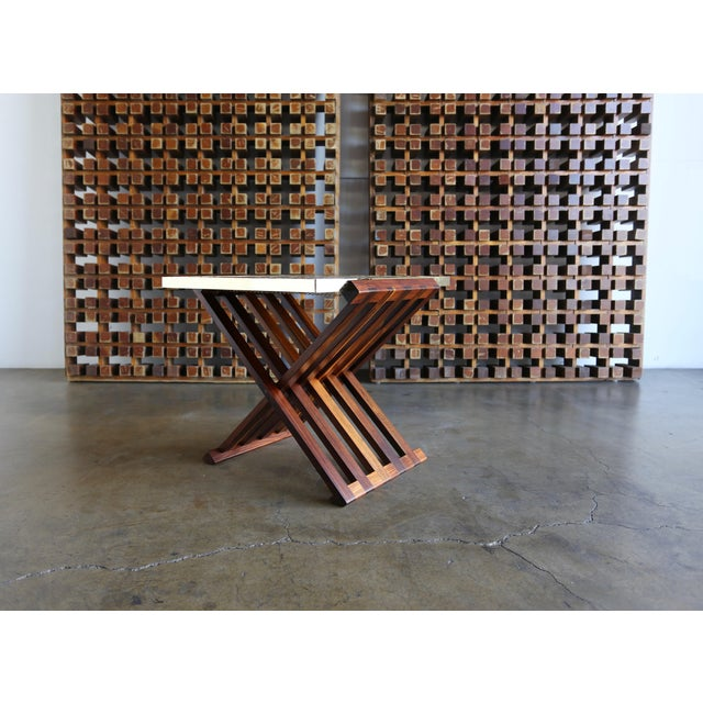 Dunbar Furniture Edward Wormley X-Base Rosewood and Murano Tile-Top Table For Sale - Image 4 of 12