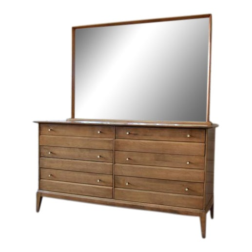 1957 Vintage Heywood Wakefield Mid-Century Cadence 6 Drawer Dresser & Mirror For Sale