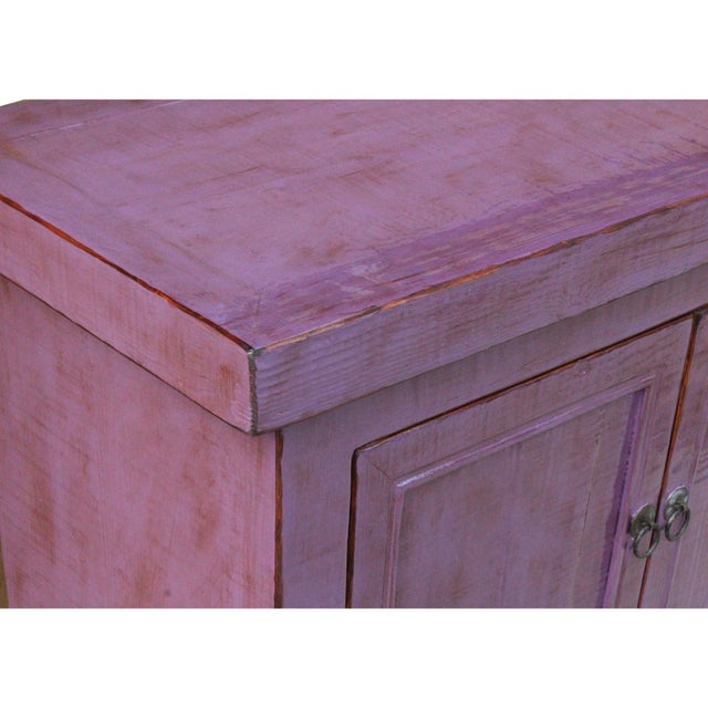 Purple Distressed Purple Lacquer Rough Raw Wood Credenza Console Table Cabinet For Sale - Image 8 of 9