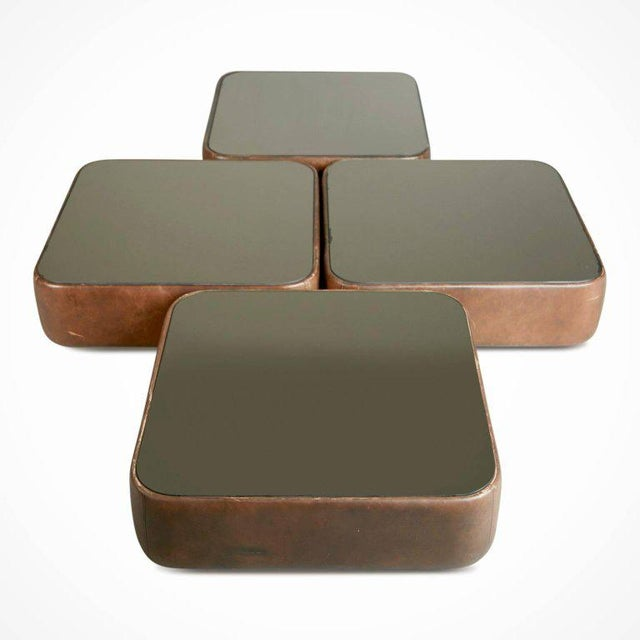 1970s Walter Knoll Leather Mirrored Low Tables, Four, Germany, Circa 1970 For Sale - Image 5 of 11