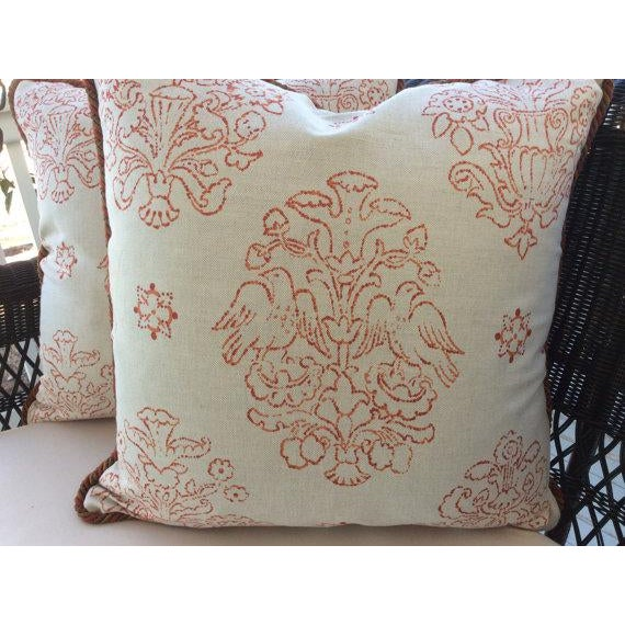 Beautiful linen by boutique design house Victoria Hagan, these abstract medallion pillows are in soft pumpkin coral on an...