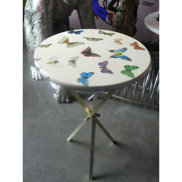 Piero Fornasetti 1960s Vintage Fornasetti White Butterfly Occasional Table For Sale - Image 4 of 13