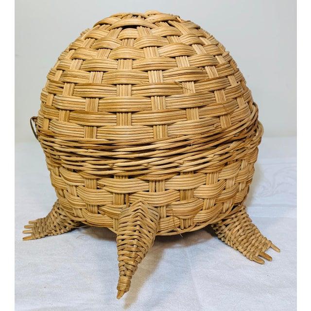 Mid Century Modern Wicker Turtle Storage Box For Sale - Image 4 of 10