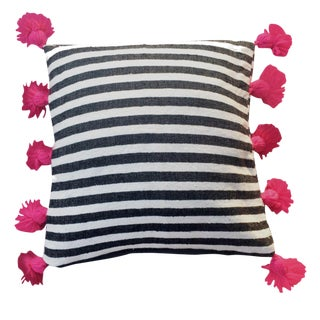 Black & Fuchsia Pompom Pillow Cover For Sale