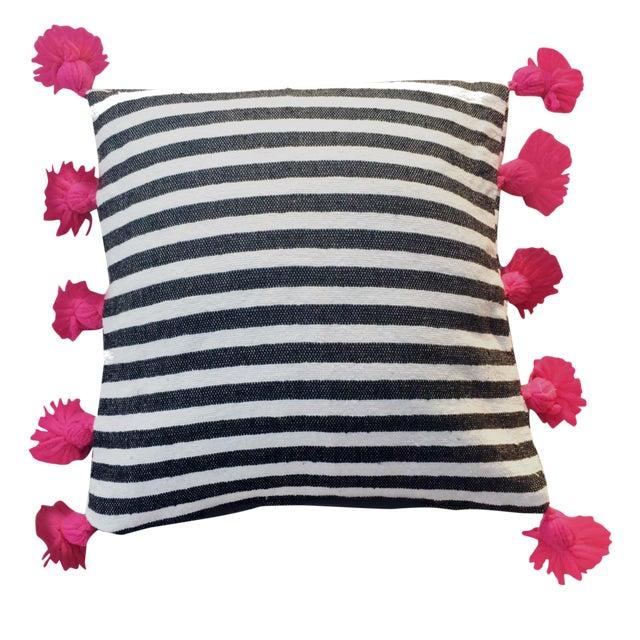 Black & Fuchsia Pompom Pillow Cover For Sale