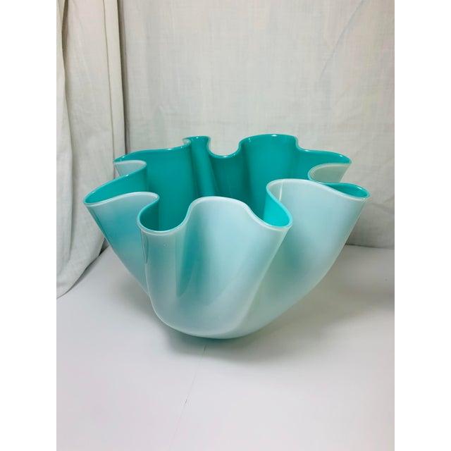"""Fulvio Bianconi Fulvio Bianconi Venini Cased Tiffany Blue Glass """"Fazzoletto"""" Handkerchief Vase For Sale - Image 4 of 11"""