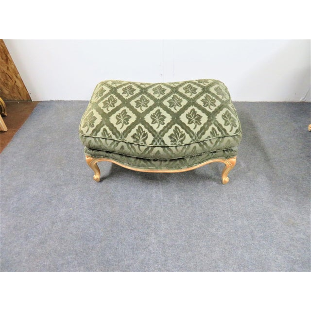 Louis XV Style Pickled Finish Bergere & Ottoman For Sale In Philadelphia - Image 6 of 12