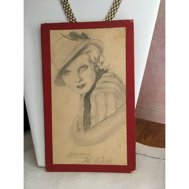 """Paper 1930s Art Deco """"Lady With a Hat"""" Pencil Drawing For Sale - Image 7 of 7"""