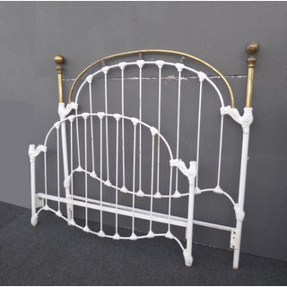 1930s Vintage French Country Shabby Chic White Cast Iron Full Bed Frame Headboard Preview