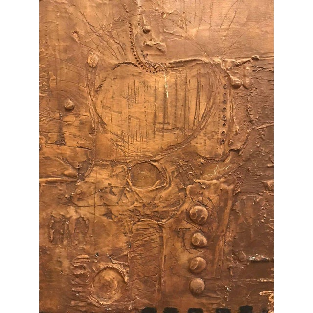 Modern MCM Fine Abstract Oil on Board Signed by Michels Dated 1961, 'Copper Bleeding' For Sale - Image 3 of 10