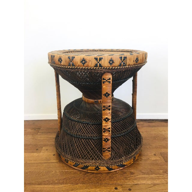 Vintage Bohemian Chic Rattan / Wicker Peacock Table For Sale In Las Vegas - Image 6 of 6