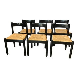 Italian Black Lacquer Chairs - Set of 6 For Sale