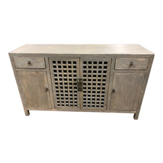 Shabby Chic Gray Wash Lattice Door Sideboard For Sale