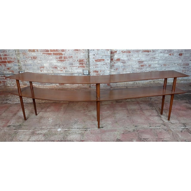1960s Mid-Century Modern Walnut Two Tier Curvy Console For Sale - Image 4 of 12