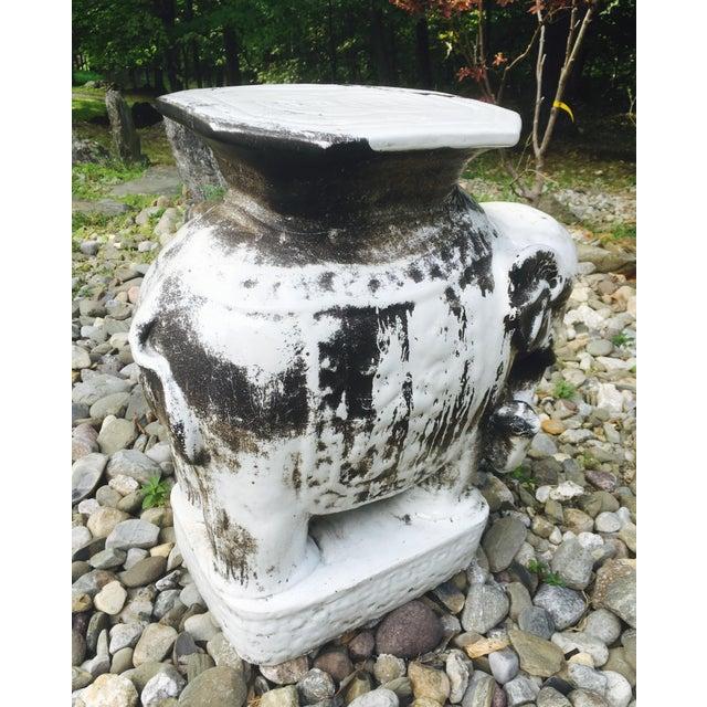 Glazed Ceramic Elephant Garden Stool / Side Table - Image 6 of 7