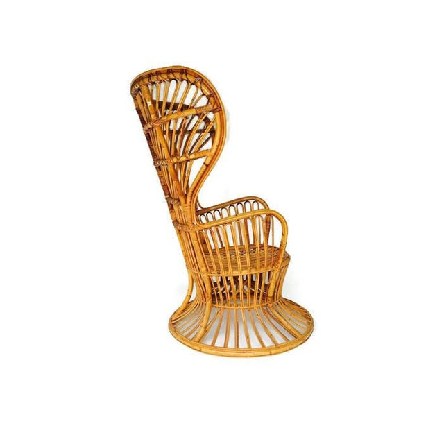 Franco Albini Style Vintage Bamboo Peacock Chair - Image 3 of 6