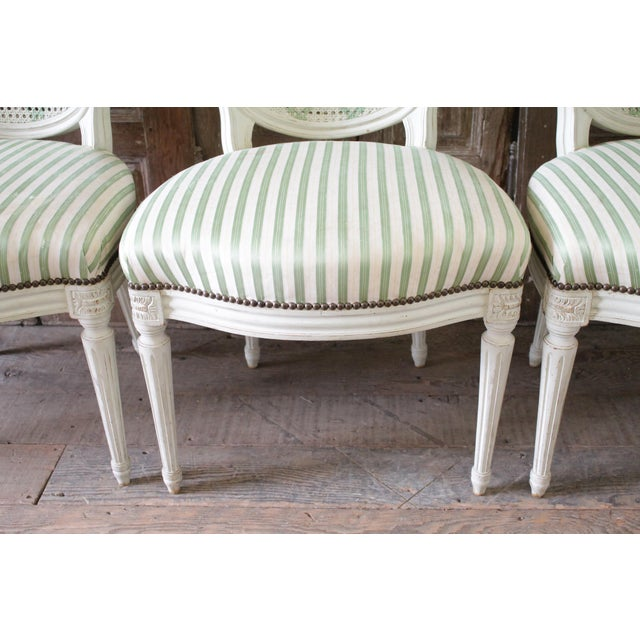 Louis XVI Style French Painted Cane Back Dining Chairs -Set of 4 For Sale - Image 4 of 11