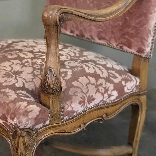 Rose Pair Armchairs, 19th Century French Louis XV in Walnut For Sale - Image 8 of 13
