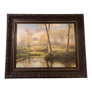 Vintage Mid-Century Framed Landscape Oil Painting For Sale