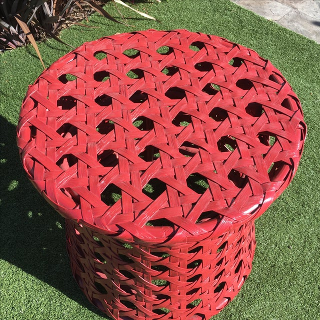 Palecek Woven Red Side Table - Image 3 of 8