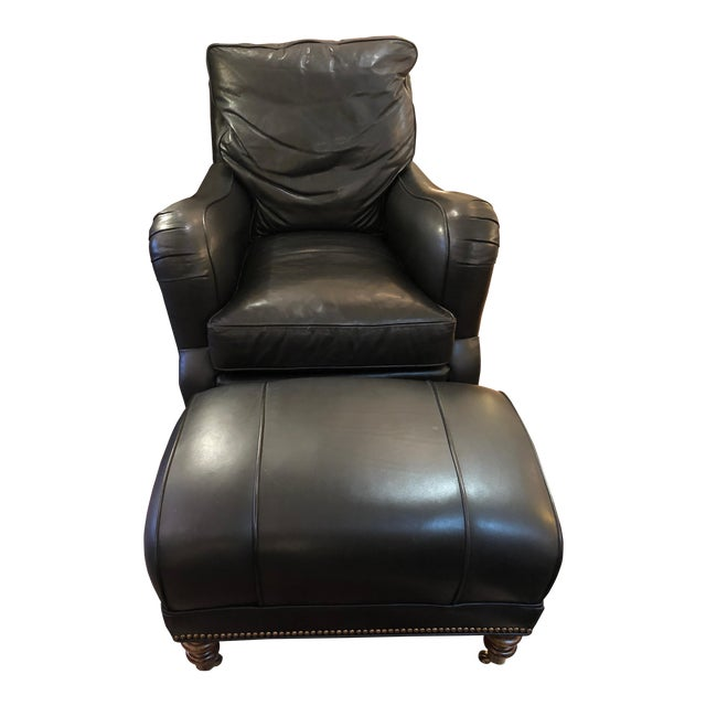 Dark Charcoal Leather Club Chair & Ottoman For Sale