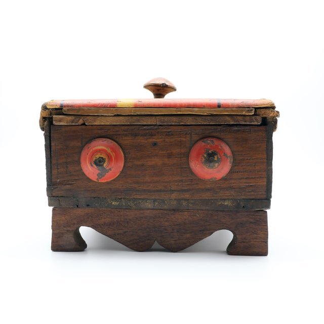 19th Century 19th Century Antique Afghan Wood Spice Box For Sale - Image 5 of 13