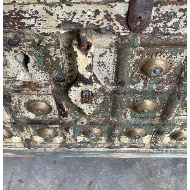 Brass Antique Teak & Brass Trunk For Sale - Image 8 of 13