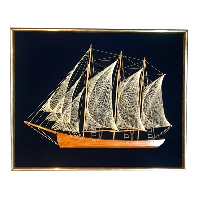 Mid 20th Century Wood and String Ship Wall Decor For Sale