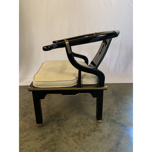Mid 20th Century James Mont-Style Suede and Lacquer Horseshoe Lounge Chair by Century Furniture For Sale - Image 5 of 11