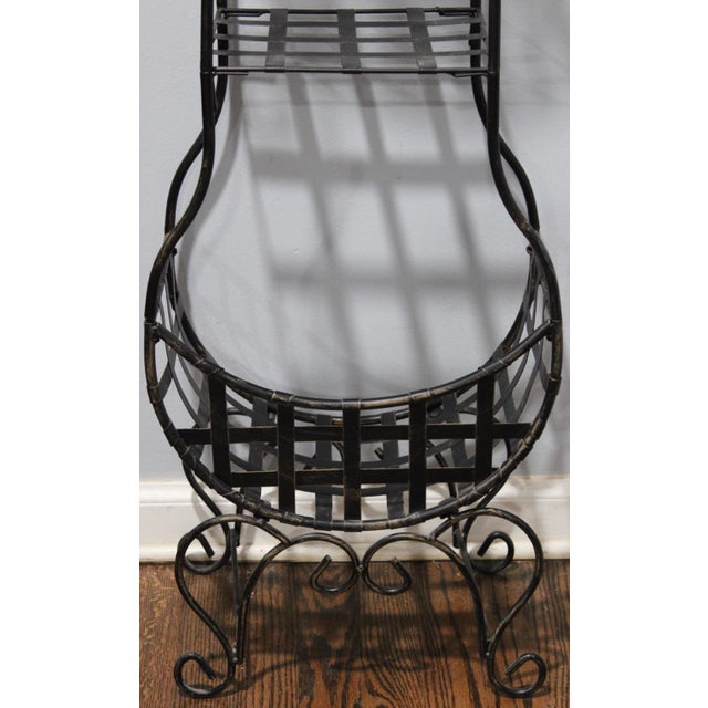 French Country French Country Cast Iron Tiered Metal Plant Stand For Sale - Image 3 of 7