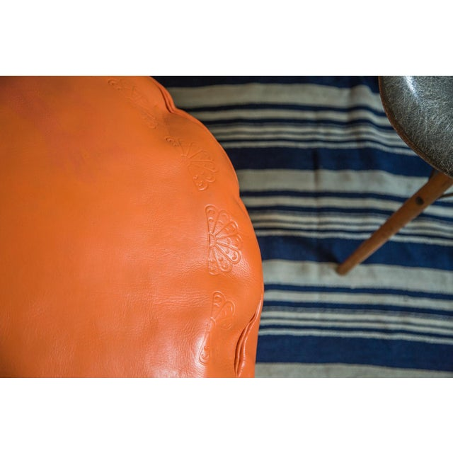 Boho Chic Antique Revival Orange Leather Pouf Ottoman For Sale - Image 3 of 9